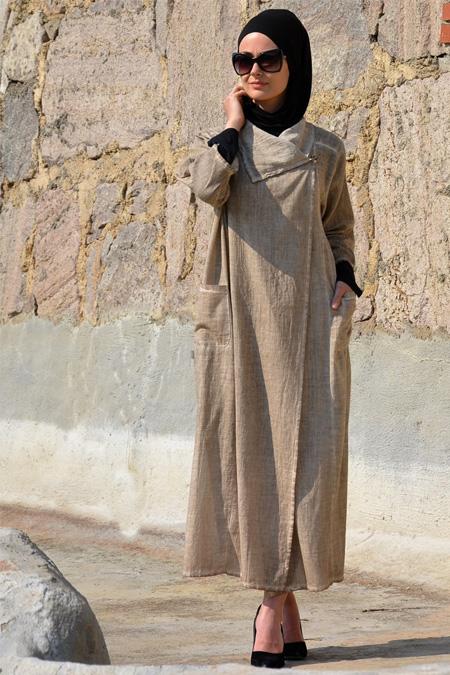 Henna Elısa Taş Rengi Organik Kumaş Bohem Ferace