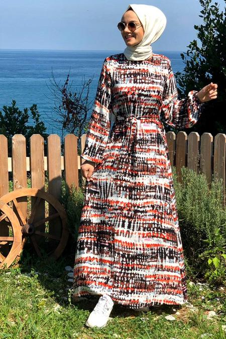Kübra Biriktir Karışık Renkli Ebruli Elbise
