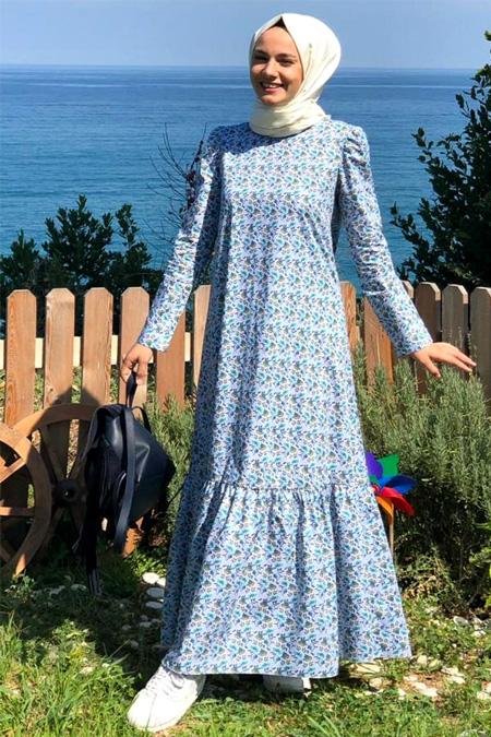 Kübra Biriktir Mavi Desenli Elbise