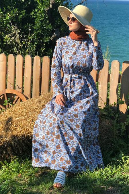 Kübra Biriktir Mavi Desenli Su Elbise