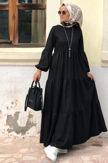 Kübra Biriktir Siyah Salaş Elbise