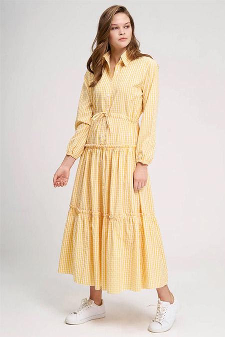 Mizalle Sarı Fırfır Detaylı Ekose Elbise