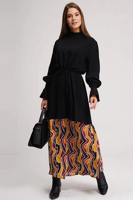 Mizalle Siyah Altı Desenli Uzun Elbise