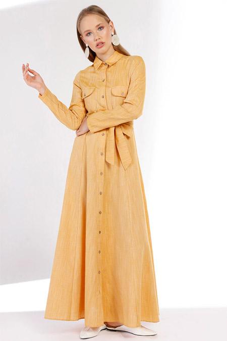 Minel Aşk Sarı Keten Elbise