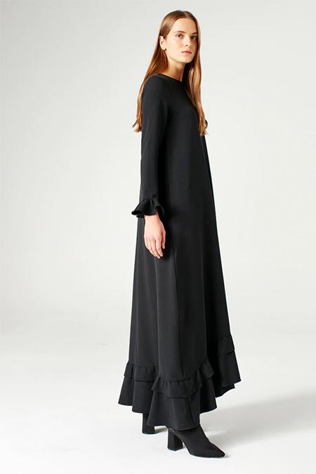 Mizalle Siyah Fırfırlı Elbise