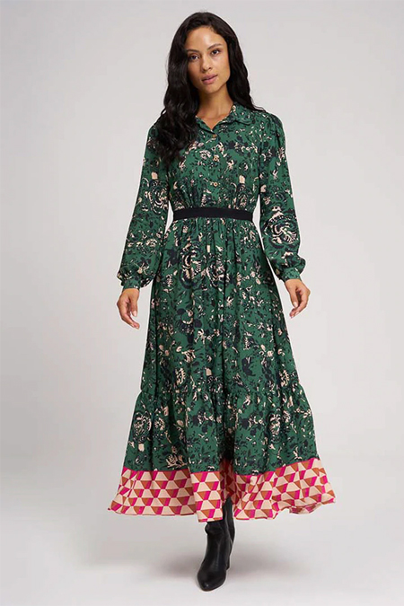 Mizalle Yeşil Eteği Desenli Uzun Elbise