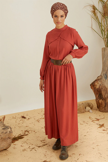 Mnatural Kiremit Volan Detaylı Elbise