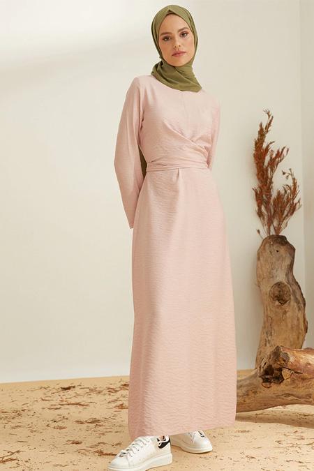 Mnatural Pudra Beli Bağlamalı Elbise
