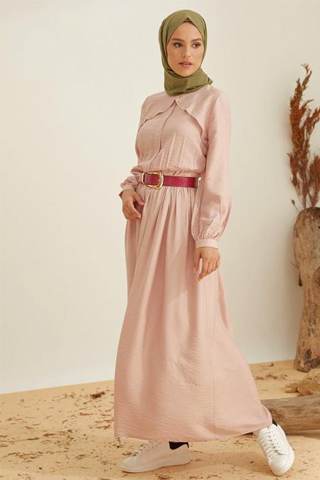 Mnatural Pudra Volan Detaylı Elbise