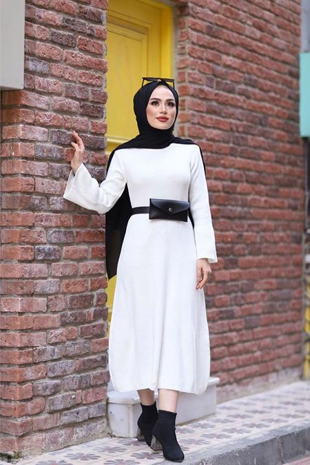 ModaBahar Beyaz Kolu Volenli Triko Tesettür Elbise