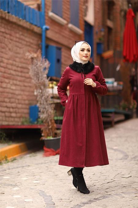 ModaBahar Bordo Seyyar Kürk Yakalı Kaşe Tesettür Kaban