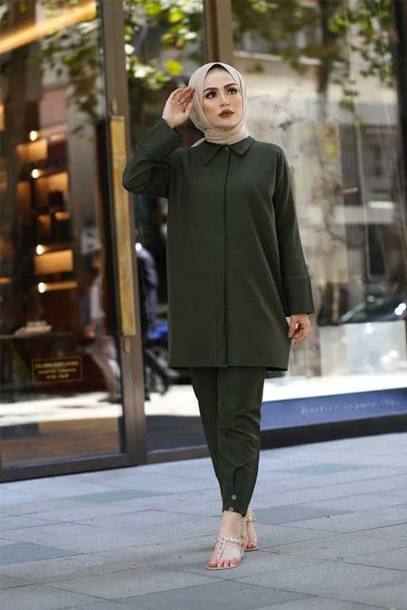 ModaBahar Haki Gizli Düğmeli İkili Takım