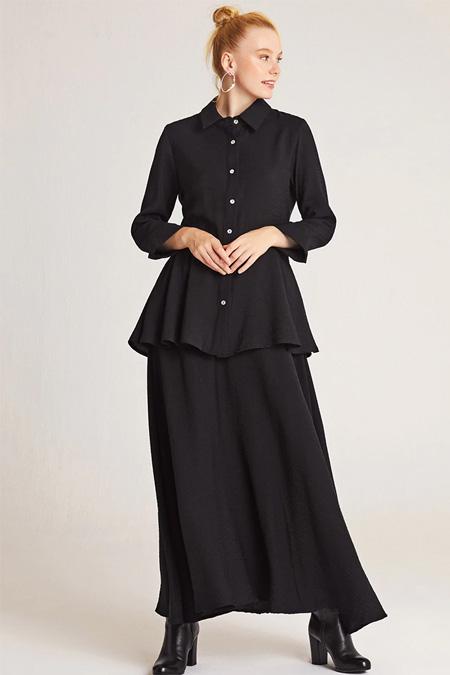 Muni Muni Siyah Bluz Etek İkili Takım