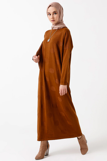 NOVİNZA Tarçın Pamuklu Triko Elbise