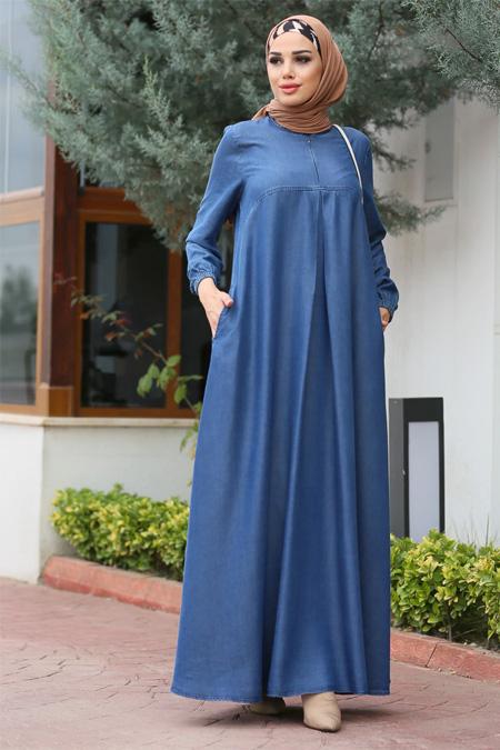 Neways Koyu Mavi A Pile Elbise