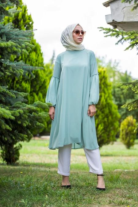 Pastelastore Somon Balon Kollu Tunik Elbise