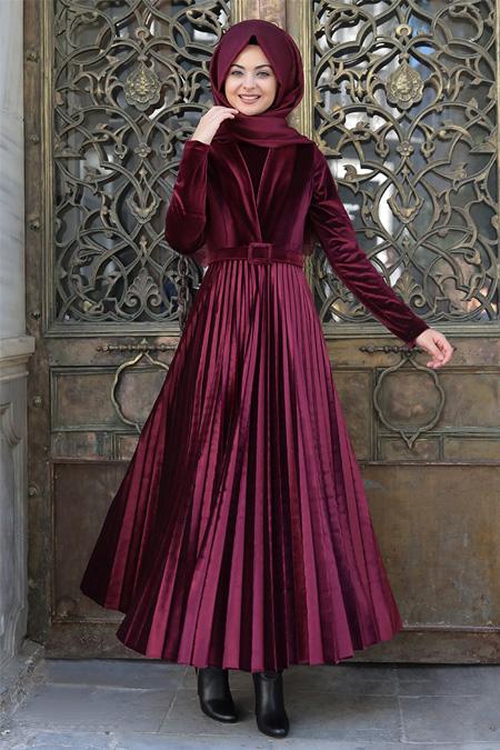 Pınar Şems Bordo Gökçe Elbise