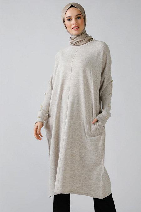 Refka Bej Cep Detaylı Triko Tunik