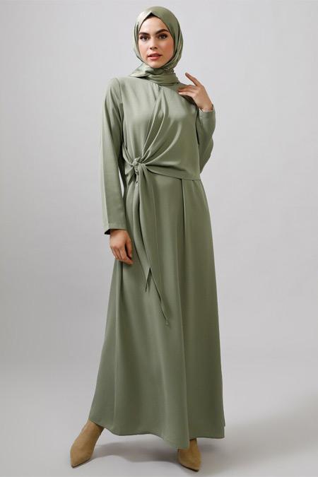 Refka Çağla Yeşili Beli Bağlama Detaylı Elbise