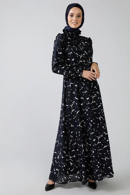 Refka Lacivert Beyaz Beli Lastikli Desenli Elbise