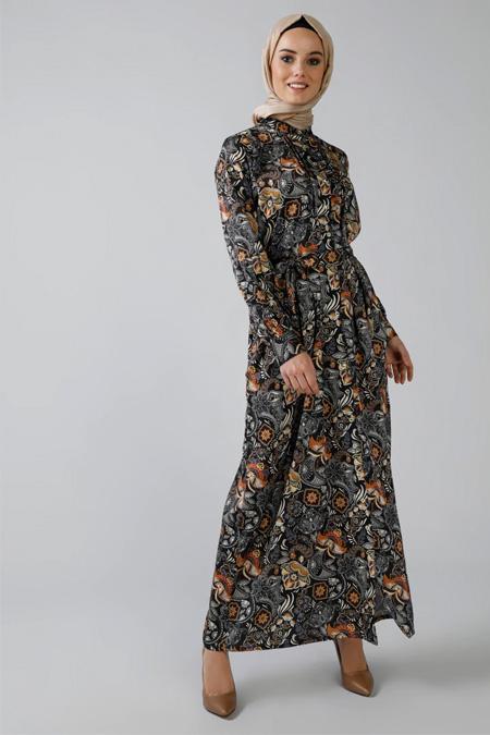 Refka Lacivert Siyah Boydan Düğmeli Desenli Elbise