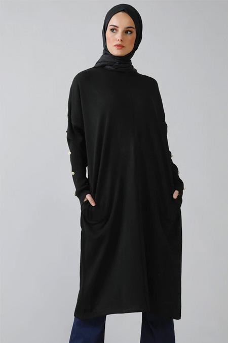 Refka Siyah Cep Detaylı Triko Tunik