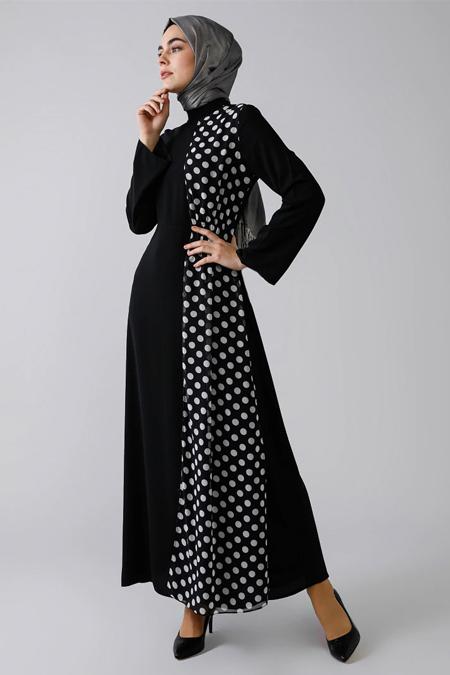 Refka Siyah Puantiyeli Elbise