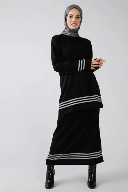 Refka Siyah Triko Tunik & Etek İkili Takım