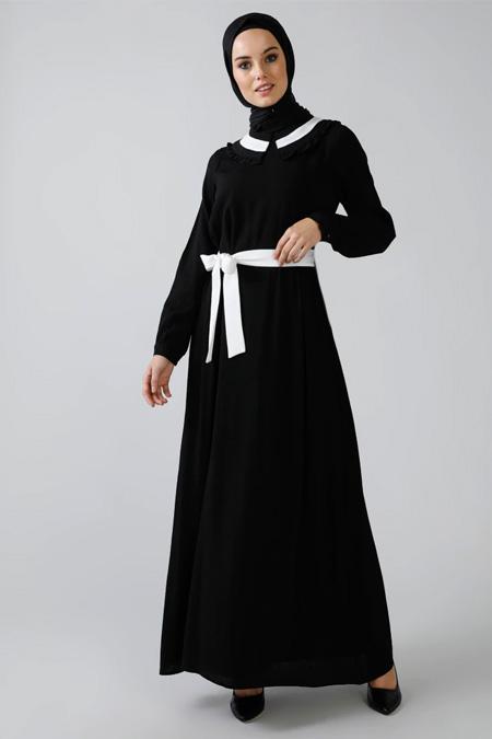 Refka Siyah Yakası Fırfırlı Elbise