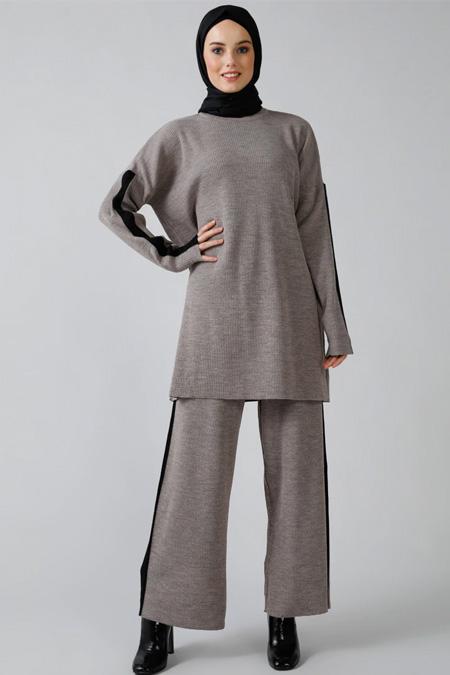 Refka Vizon Triko Tunik & Pantolon İkili Takım