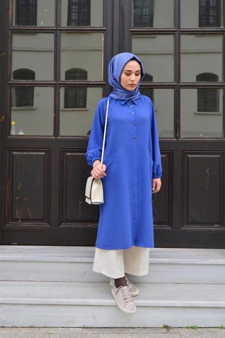 Sade Design Mavi Cepli Tunik