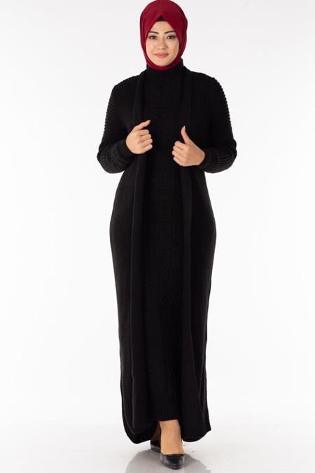 Siyah Elbise Hırka Tesettür İkili Takım