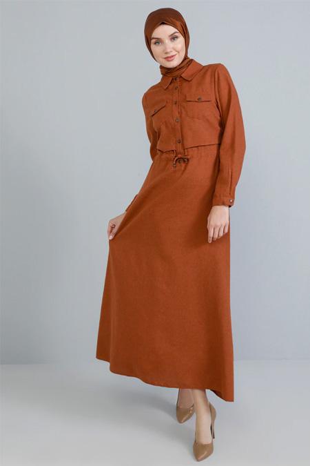 Tavin Kiremit Doğal Kumaşlı Düğme Detaylı Elbise