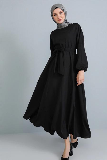 Tavin Siyah Beli Lastikli Elbise