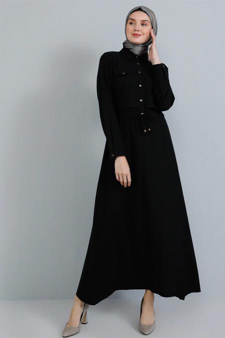 Tavin Siyah Doğal Kumaşlı Düğme Detaylı Elbise