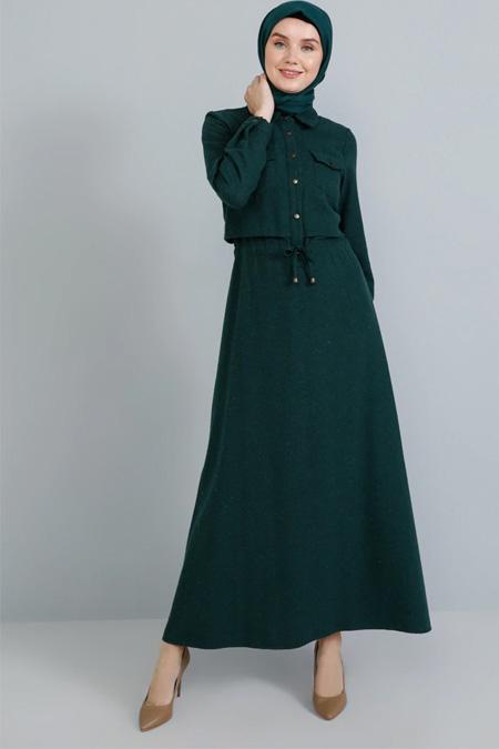 Tavin Zümrüt Doğal Kumaşlı Düğme Detaylı Elbise