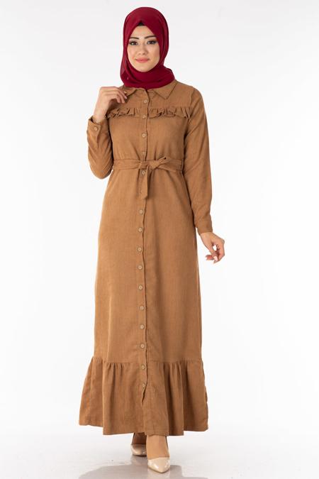 Vizon Fırfırlı Kadife Tesettür Elbise