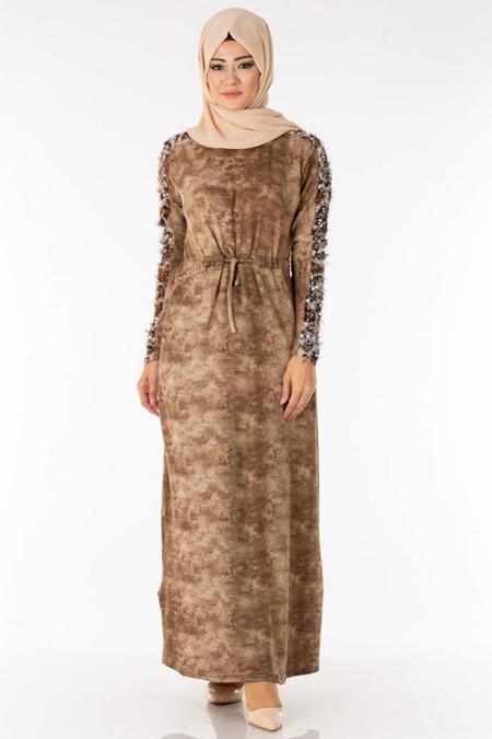 Vizon Kolu Pullu Saçaklı Tesettür Elbise