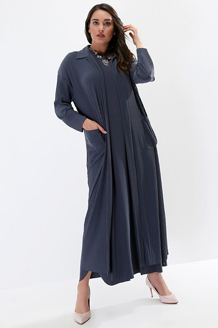 Alia Gri Kolsuz Elbise