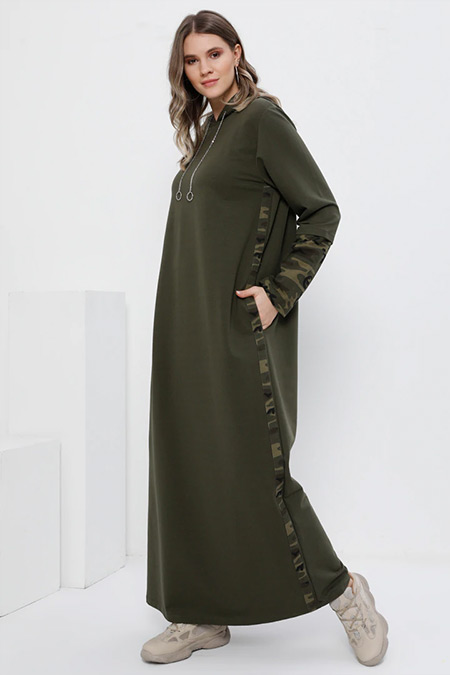 Alia Haki Doğal Kumaşlı Kapüşonlu Elbise