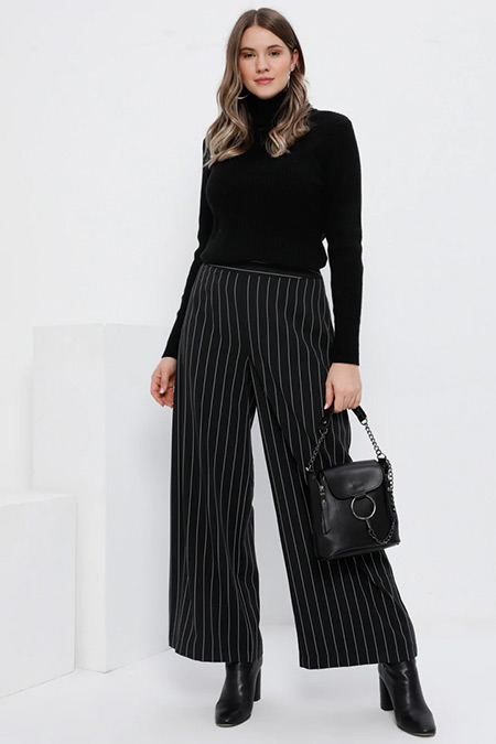 Alia Siyah Bol Paça Çizgili Pantolon