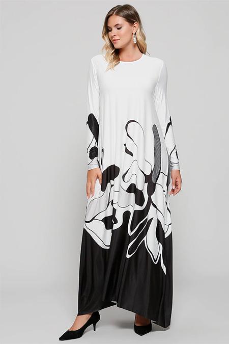 Alia Ekru Siyah Desenli Elbise