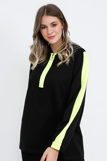 Alia Siyah Neon Sarı Kapüşonlu Tunik
