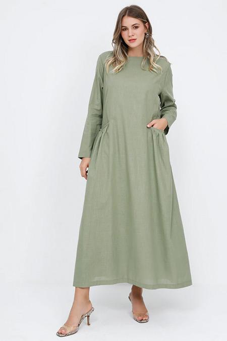 Alia Soft Haki Cep Detaylı Pamuklu Elbise