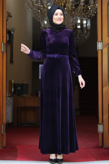Amine Hüma Mor Tutku Kadife Elbise