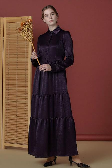 Arzen Mor Düğme Detaylı Düz Elbise