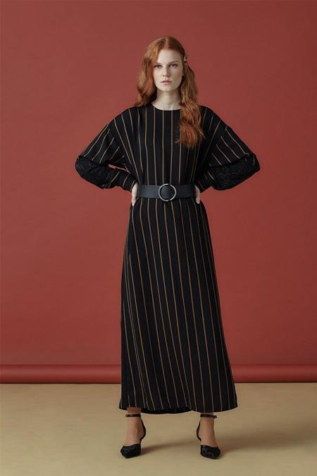 Arzen Siyah Hardal Kolu Dantel Detaylı Çizgili Elbise