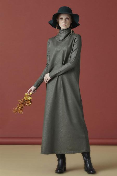 Arzen Yeşil Düz Triko Elbise