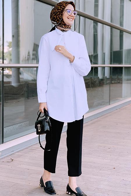 DeFacto Beyaz Yaka Detaylı Uzun Tunik