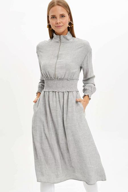 Defacto Gri Beli Lastikli Uzun Elbise Tunik